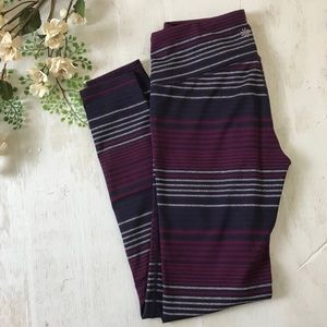 Athleta Chaturanga Purple Striped Pant Small
